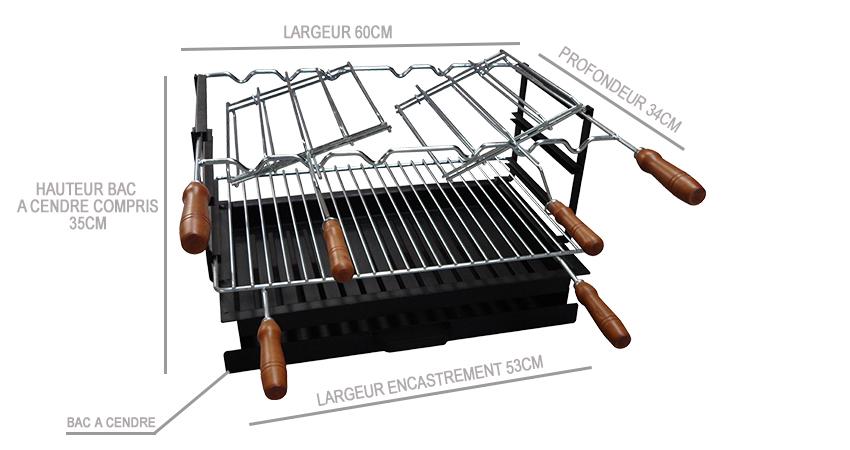 Barbecue d 39 angle multifonctions avec four a bois diam tre - Grille pour barbecue sur mesure en acier inox ...