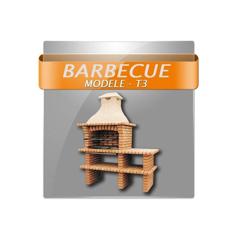 Plan Foyer Extérieur Acier : Barbecue en brique rouge avec foyer acier grilles