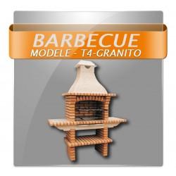 Barbecues en brique léopard avec foyer acier, grilles rotatives et plan de travail en granite poli.