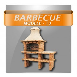Barbecues en brique avec foyer inox, grilles rotatives et plan de travail en granite polis