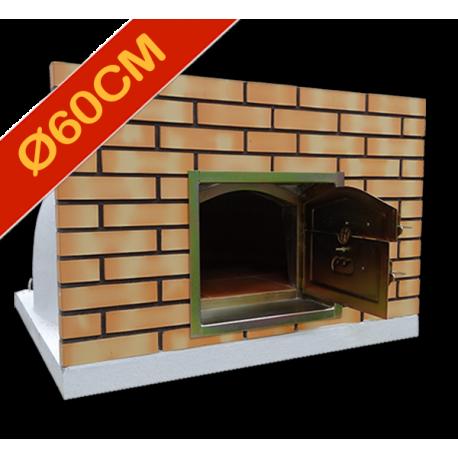 Four à pizza diamètre intérieur Ø60cm avec façade en brique