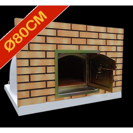 Four à pizza diamètre intérieur Ø80cm avec façade en brique