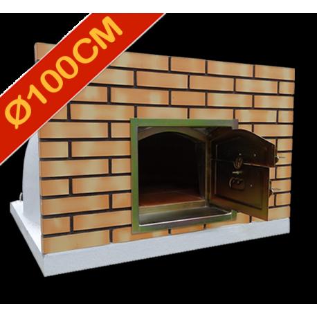 Four à pizza diamètre intérieur Ø100cm avec façade en brique