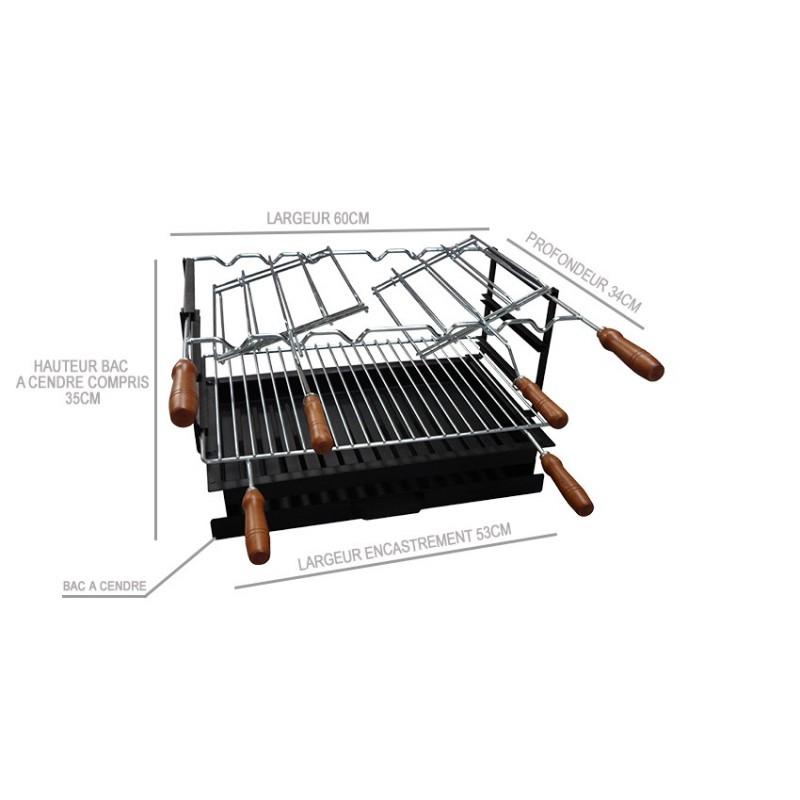barbecue en brique rouge avec foyer acier et grilles rotatives. Black Bedroom Furniture Sets. Home Design Ideas