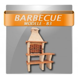 Barbecues en brique rouge avec foyer acier et grilles rotatives et plan de travail en brique