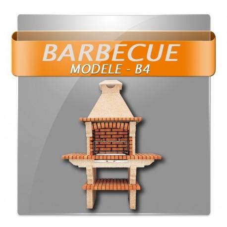 Barbecues en brique rouge avec foyer acier et grilles rotatives et double plan de travail en brique