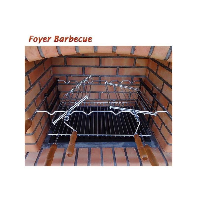 barbecue en brique rouge avec foyer acier et grilles rotatives et parrois beton. Black Bedroom Furniture Sets. Home Design Ideas