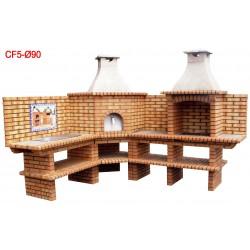 Barbecue d'angle multifonctions avec four a bois diamètre Ø90cm