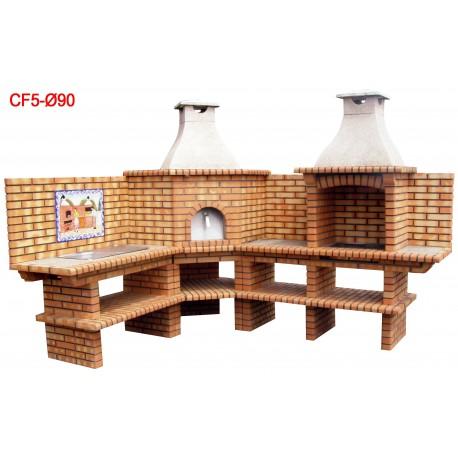 Barbecues d'angle avec four a bois diamètre 90cm