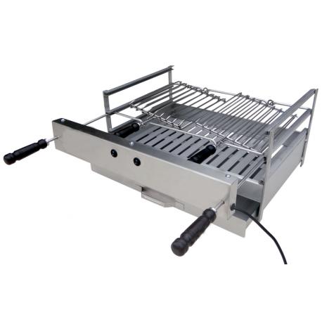 Foyer grill électrique tout Inox pour barbecue munis d'une grille fixe et deux grilles rotatives
