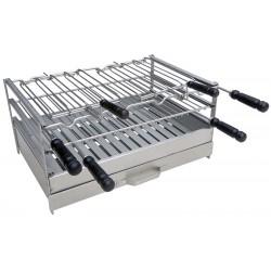 Foyer grill tout Inox pour barbecue munis d'une grille fixe et deux grilles rotatives