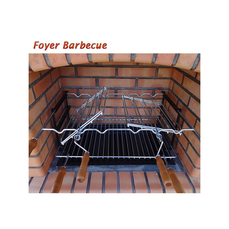 barbecue en brique rouge avec foyer acier grilles rotatives et plan de travail en brique. Black Bedroom Furniture Sets. Home Design Ideas