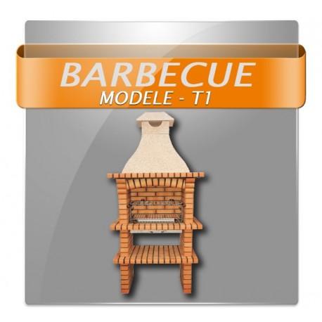 Barbecues en brique rouge et conduit de cheminée granito